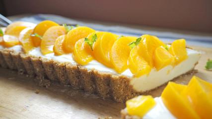 Peach Cheesecake homemade/ OLYMPUS DIGITAL CAMERA
