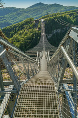 A view from the skybridge ,height of 207 metes, in extreme  adventure national park, Sochi,Russia.