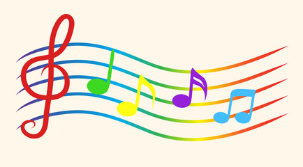 Color Music Notes on Staves. Vector Illustration