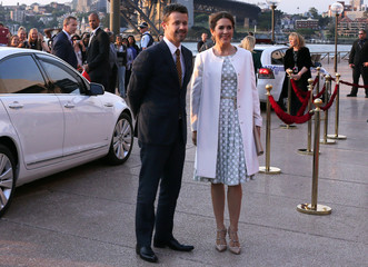 Denmark's Crown Prince Frederik and Crown Princess Mary pose for a photograph as they arrive at the Sydney Opera House