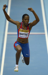 Cuba's Martinez competes in women's triple jump qualification at world indoor athletics championships in Sopot