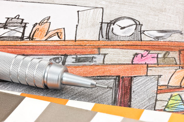 pencil with color swatches on colored sketch of home interior macro