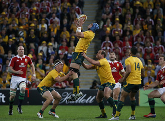Australia's Horwill takes a high ball during their rugby union test match against the British and Irish Lions at Suncorp Stadium in Brisbane