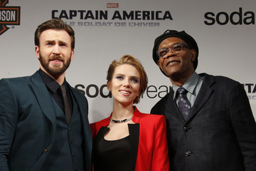 "Cast members Evans, Johansson and Jackson pose at the French premiere of the film ""Captain America: The Winter Soldier"" in Paris"
