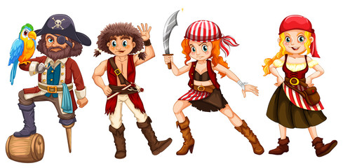 Pirate crews on white background