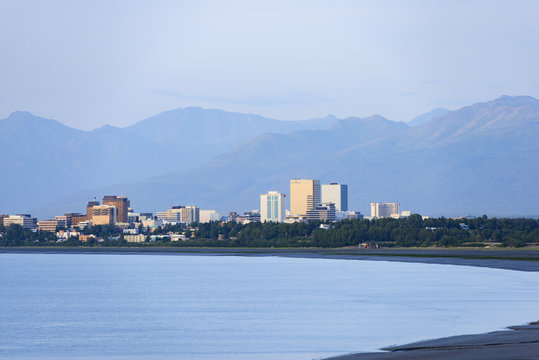 Downtown Anchorage sits on a coastal plane between Cook Inlet and the Chugach Mountains, in Alaska