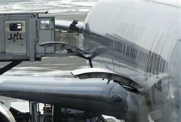 An airport employee works on a Japan Airlines' plane at New Chitose airport in Chitose