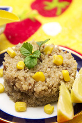 Quinoa salad with corn and lemon
