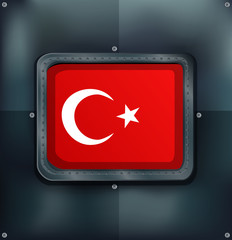 Turkey flag on metalic background