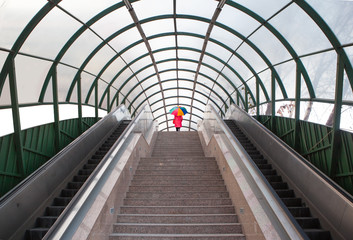 Foto op Canvas Tunnel modern overpass stairs and escalator in the city