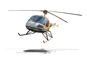 Old helicopter isolated on white background with clipping path.