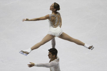 Della Monica and Guarise of Italy perform during the pairs short program at the ISU European Figure Skating Championship in Bratislava