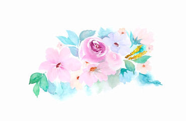 Watercolor floral composition. Painted flowers on white background. Isolated image