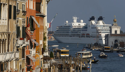 A general view of a cruise ship in Venice lagoon