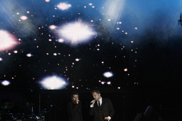 Juanes and Spain's Miguel Bose perform during the centennial celebrations for the El Tiempo newspaper, in Bogota