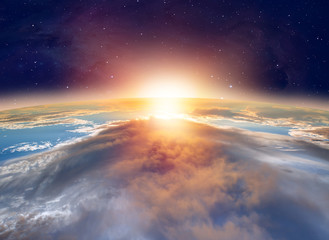 """Planet Earth with a spectacular sunset. .""""Elements of this image furnished by NASA"""""""