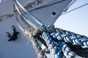 The ropes in the background the bow of the ship