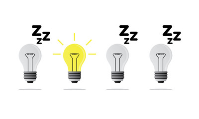 sleeping and shining lightbulb