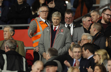 Arsenal manager Arsene Wenger in the stands before the match
