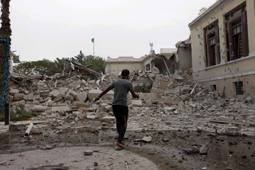 Damage is seen inside the General People's Congress building, which the Libyan government said was caused by coalition air strikes, in Tripoli