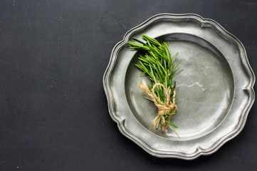 Organic food concept with rosemary