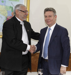 Paraguayan President Fernando Lugo meets with EU Trade Commissioner Karel De Gucht at the presidential residence in Asuncion