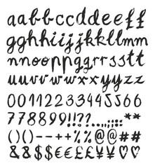 Handwritten Brush Vector Font Script Letters