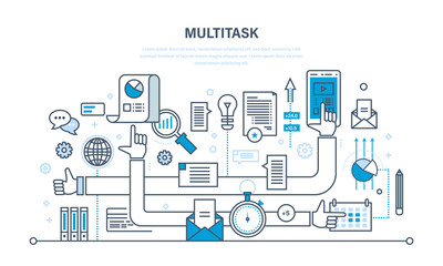 Multitask, performing multiple task simultaneously, using tablet, laptop, cellphone, data.
