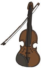 Doodle style cartoon brown violin
