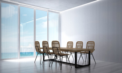 The 3d rendering interior of loft dining room design and sea view