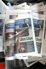 View of front page of French daily morning newspaper Liberation in La Courneuve near Paris