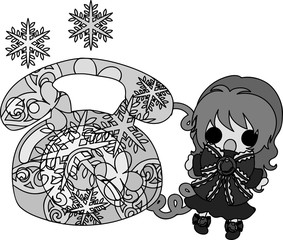 The cute illustration of winter and girls -A ice telephone-