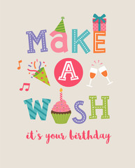 """Make a wish"" typography design with cute party icons for birthday card"
