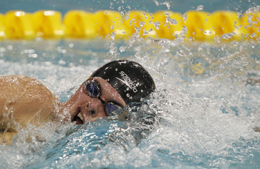 Evan Pinion of the U.S. competes in the men's 1500m freestyle final at the FINA World Junior Championships in Lima