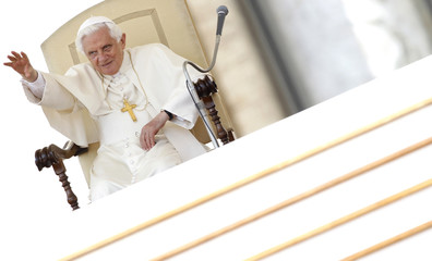 Pope Benedict XVI waves as he leads his weekly general audience in Saint Peter's Square at the Vatican