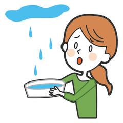 雨漏りに困る女性のイラスト