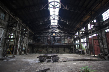 old abandoned hall in train factory