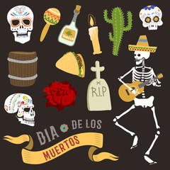 Colorful symbols for Dia de Los muertos day of the Dead Day vector.