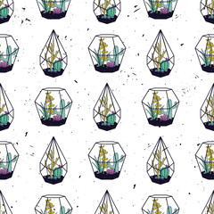 Vector colorful hand drawn seamless pattern with cactuses and succulents in terrariums on grunge texture. Modern scandinavian design