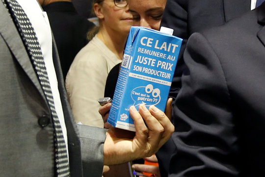 """French Agriculture Minister Stephane Le Foll holds a carton of milk from """"C'est qui le patron"""" as he visits the dairy group Lactalis at the food exhibition Sial in Villepinte, near Paris"""