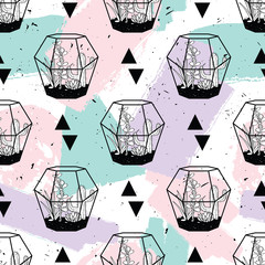 Vector hand drawn seamless pattern with geometric and brush painted elements, triangles, cactuses and succulents in terrariums. Modern scandinavian design. Pastel colors.
