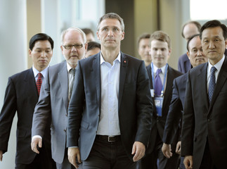 Norway's Prime Minister Jens Stoltenberg arrives at Incheon Airport