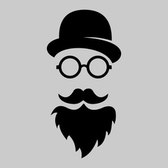 Vintage silhouette of bowler, mustaches, glasses. Vector illustration of gentleman or hipster. Retro gentleman icon. Logo template of gentleman Club.