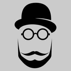 Retro, vintage gentleman. Flat Vector illustration.