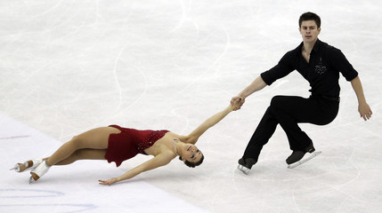 Dube and Wolfe of Canada perform during the pairs free skating event at the ISU World Figure Skating Championships in Nice