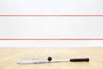 racquetball equipment on the court