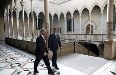 Catalan regional president Mas receives European Parliament President Schulz before a meeting at Palau de la Generalitat in Barcelona