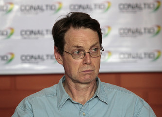 Torlot, European Union ambassador in Bolivia, attends a news conference in Chimore