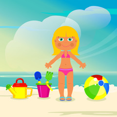 Girl on the beach playing with their toys. Vector illustration.