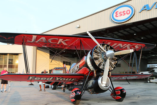 The Screamin' Sasquatch jet powered Waco Biplane sits on display during media day for the Canadian International Air Show at Billy Bishop Airport, Toronto